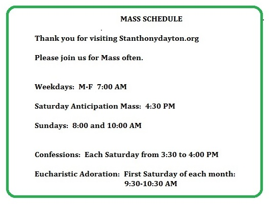 Mass Schedule  May 2015